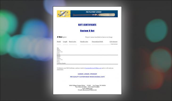 X Bats Gift Certificate  ($200)